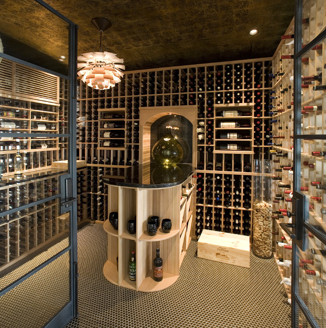 Nadia Designs Contemporary Wine Cellar Los Angeles