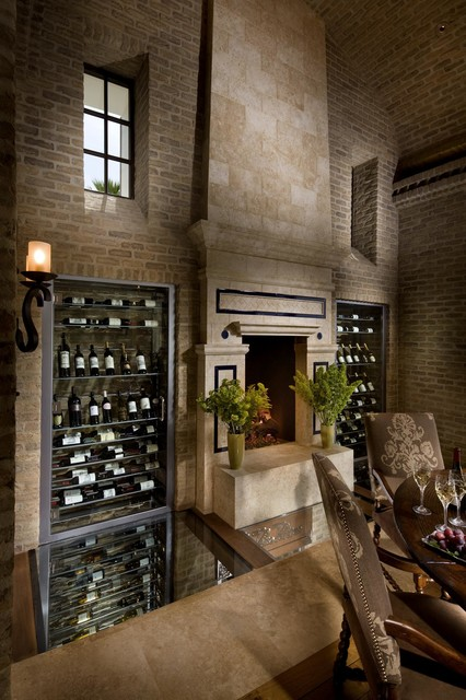 Old-World Brick Dining Room and Fireplace mediterranean-wine-cellar