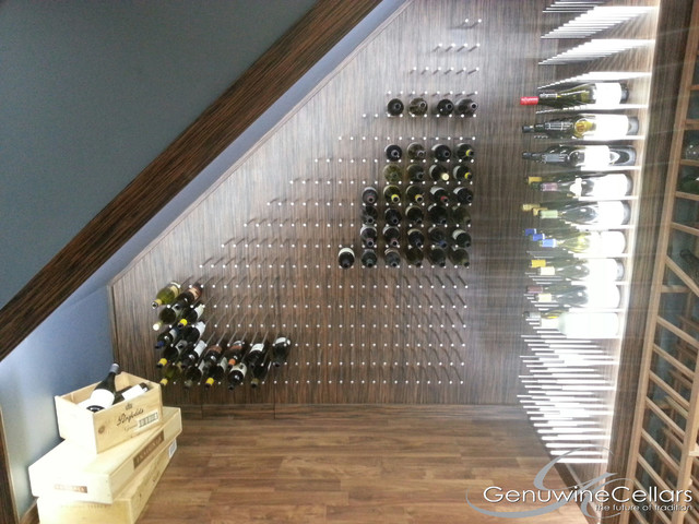 Peg System Under Stairs Wine Bottle Display Stainless