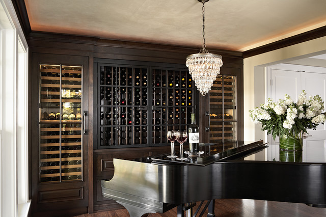 Piano Alcove with wine cabinetry traditional-wine-cellar