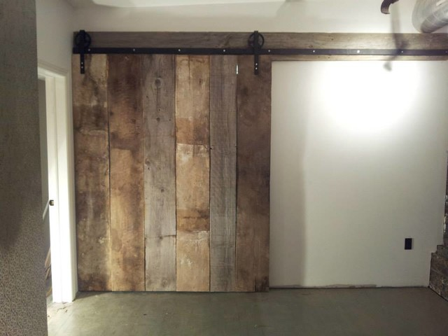 Pine Floor Board Barn Style Door Rustic Wine Cellar