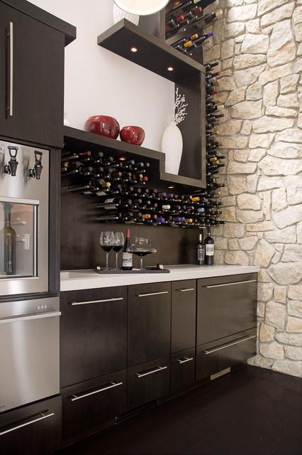 Private Wine Bar and Bathroom - Contemporary - Wine Cellar ...