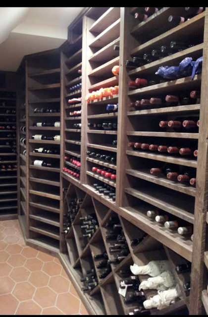 Reclaimed Oak Wine Cellar traditional-wine-cellar
