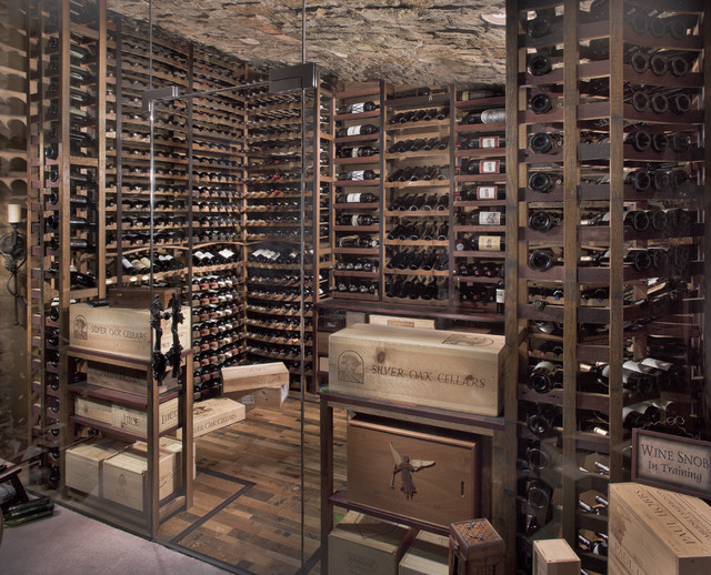 Reclaimed wine barrel racking for Wine cellar design ideas