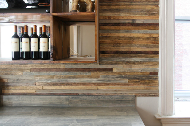 Reclaimed wood bar - Rustic - Wine Cellar - New York - by Jen Chu Design
