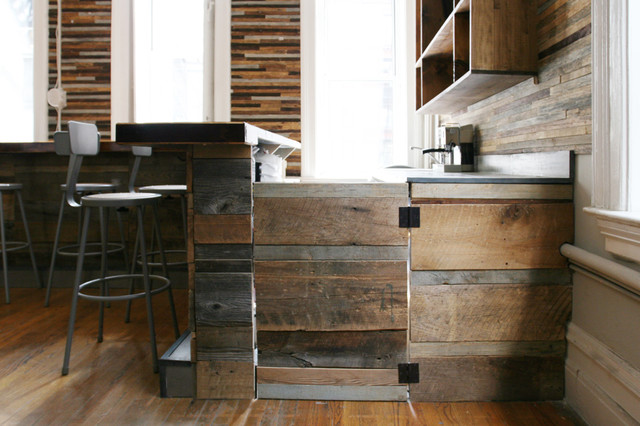 Reclaimed wood bar rustic wine cellar new york by for Wooden bar design