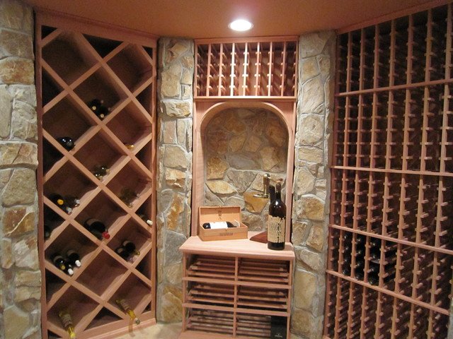 Redwood wine racks contemporary wine cellar