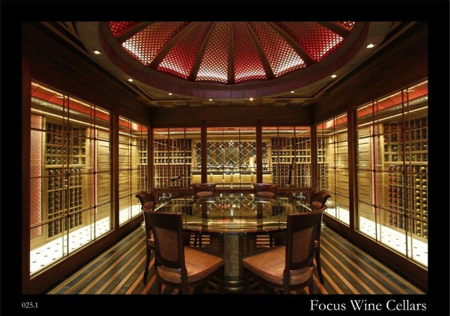 Residential Walk In Wine Cellar With Tasting Room