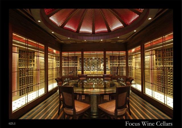 Residential walk in wine cellar with tasting room for Walk in wine cellars