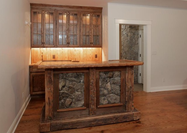 Rustic Bar with Stone and Built-ins - Traditional - Wine Cellar - new ...