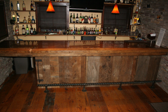 Wood Wine Bar ~ Rustic barnwood bar wine cellar minneapolis