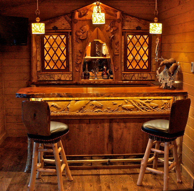 Rustic home bar room rustic-wine-cellar