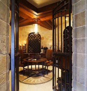Rustic Modern Mountain Retreat Traditional Wine Cellar