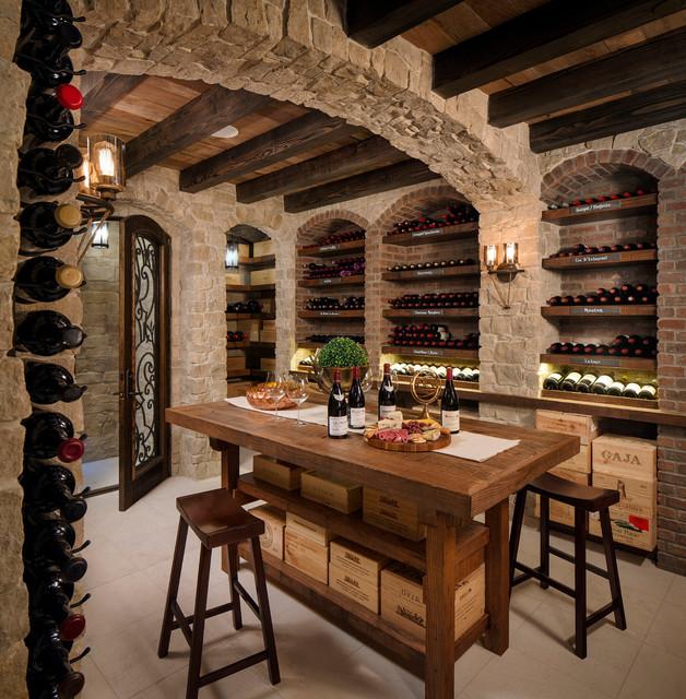 Home Bar Design Ideas Houzz: Rustic Wine Cellar & Tasting Room