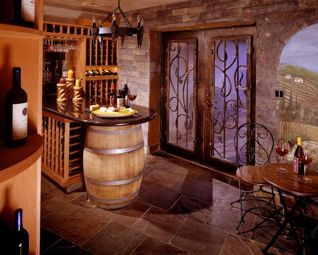 Rustic wine room rustic wine cellar phoenix by for Wine rooms in homes