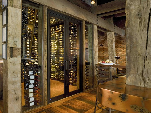 Samplings frisco co rustic wine cellar denver by for Wine room ideas