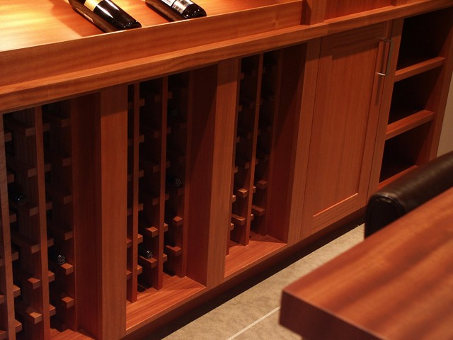 Sapele Wine Display Cabinetry contemporary-wine-cellar
