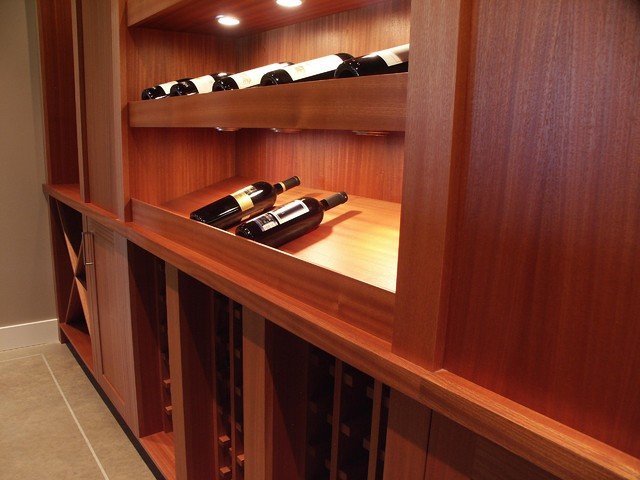 Sapele Wine Display Cabinetry contemporary-wine-cellar