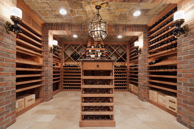 Short Hills Wine Cellar Stone Ceiling And Brick Pilasters
