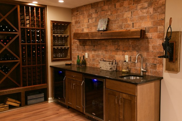 Contemporary rustic finished basement rustic wine for Rustic finished basement