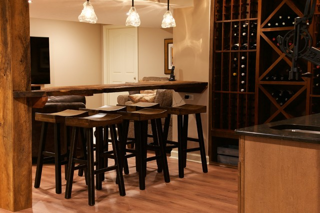 Contemporary Rustic Finished Basement Rustic Wine Cellar Cleveland By