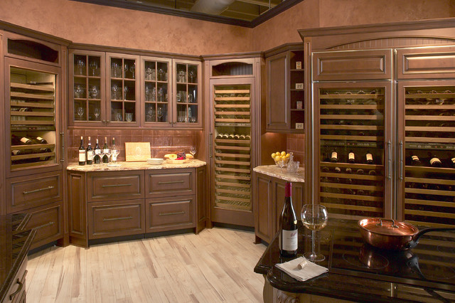 Sub Zero Wine Grotto With Chiseled Granite Top