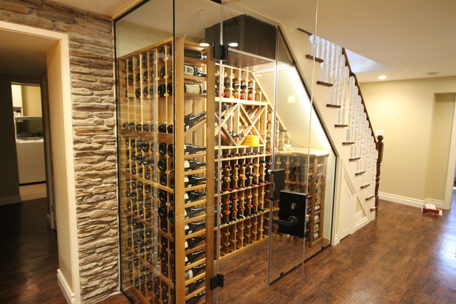 Temperature controlled wine cellar underneath staircase rustic-wine-cellar & Temperature controlled wine cellar underneath staircase - Rustic ...