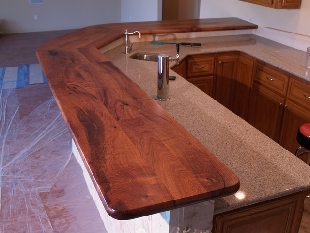 Texas Mesquite Bar Top with Custom Mesquite Corbels - Rustic - Wine Cellar - other metro - by ...