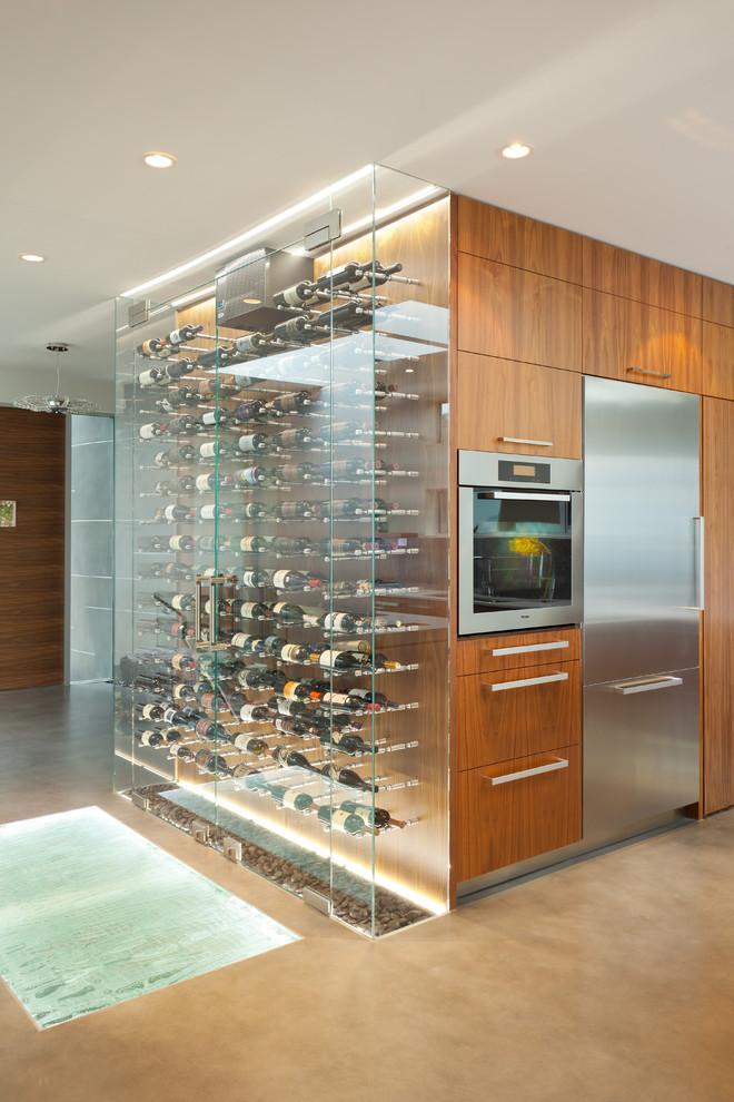 Minimalist beige floor wine cellar photo in Vancouver