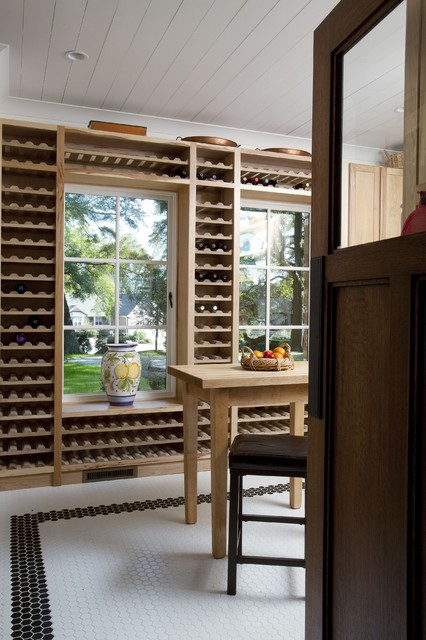 Those wine racks took forever to build. traditional-wine-cellar