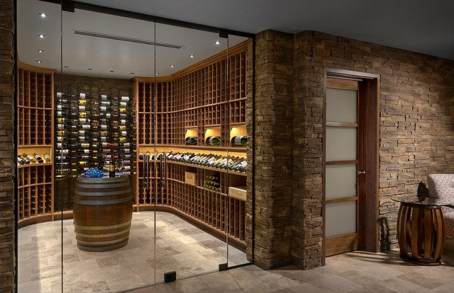 Wine cellar - contemporary beige floor wine cellar idea in Phoenix