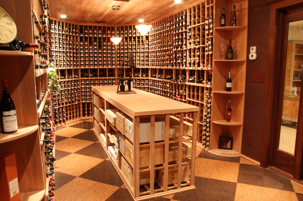 Elegant wine cellar photo in Salt Lake City with storage racks