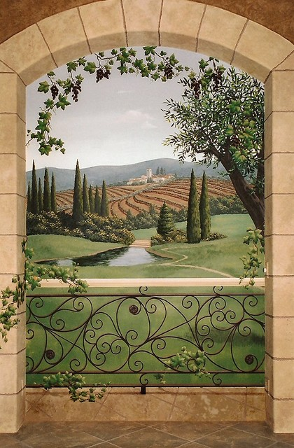 Tuscany wine room mural mediterranean wine cellar for Deco trompe l oeil mural
