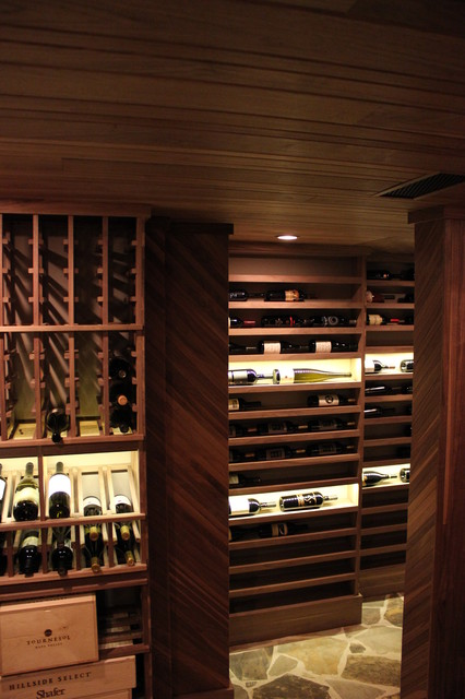 Unstained Black Walnut Custom Wine Cellar contemporary-wine-cellar