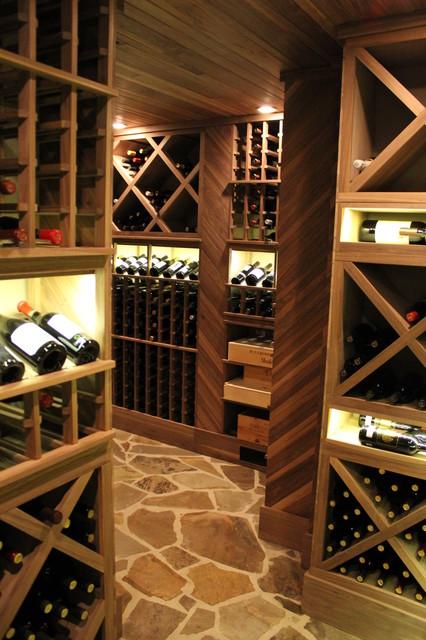Unstained Black Walnut Custom Wine Cellar  Traditional  Wine Cellar  atlanta  by Wine Cellar