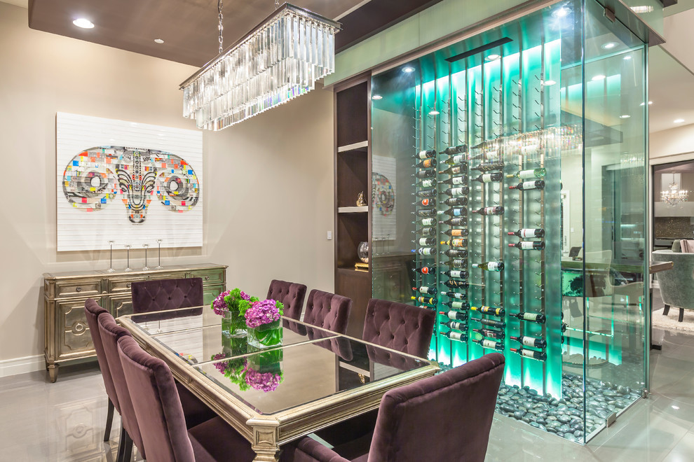 Example of a mid-sized trendy porcelain tile and gray floor wine cellar design in Las Vegas with storage racks