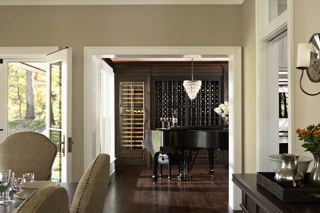 View From Dining Room Into Piano Alcove Traditional