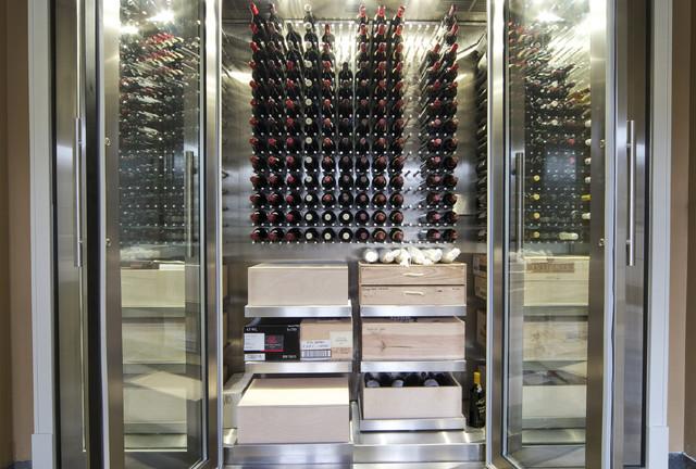 Vin de Garde Custom Stainless Steel Wine Cabinet contemporary-wine-cellar