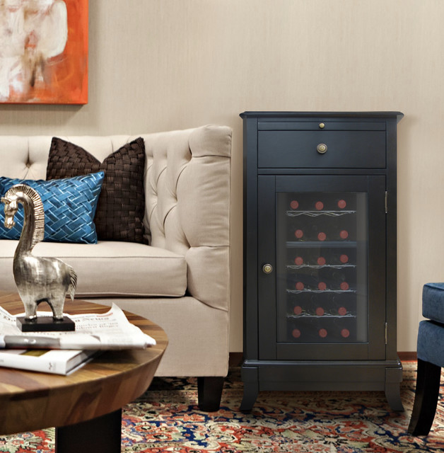 living room with cava 18 bottle wine cooler contemporary