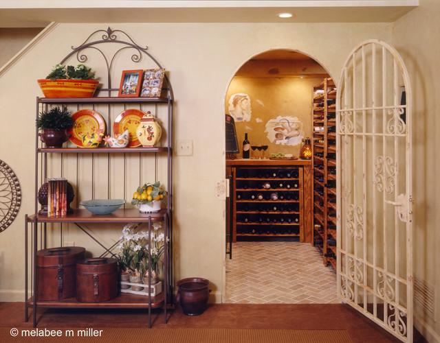 Walk in wine cellar for a small space mediterranean-wine-cellar