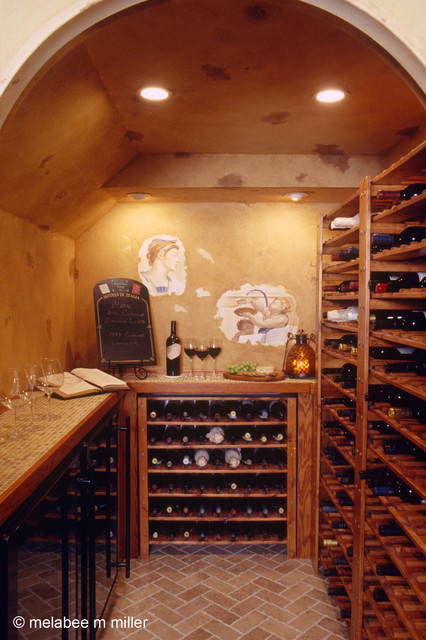 Walk in wine cellar for a small space mediterranean wine cellar