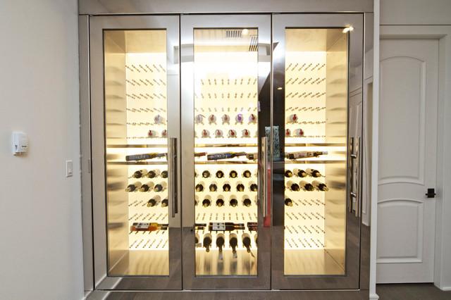 19th - Backlit LED Stainless Steel Custom Wine Fridge - Modern - Wine ...