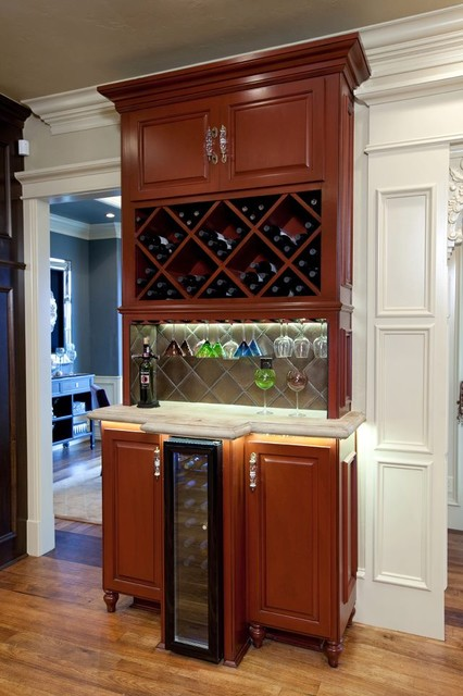 Wet bar traditional wine cellar oklahoma city by richard douglas cabinets and trim - Wet bar cabinets ...
