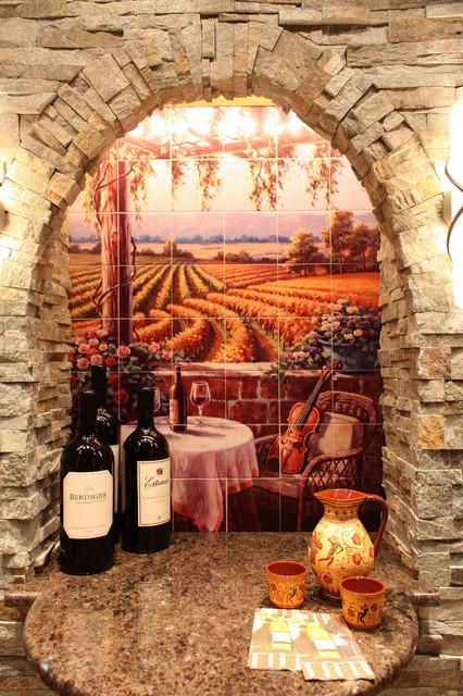 Wine cellar art on tile mural for Wine cellar wall mural