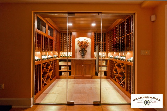 Custom Wine Cellar with Glass Entry System  wine cellar