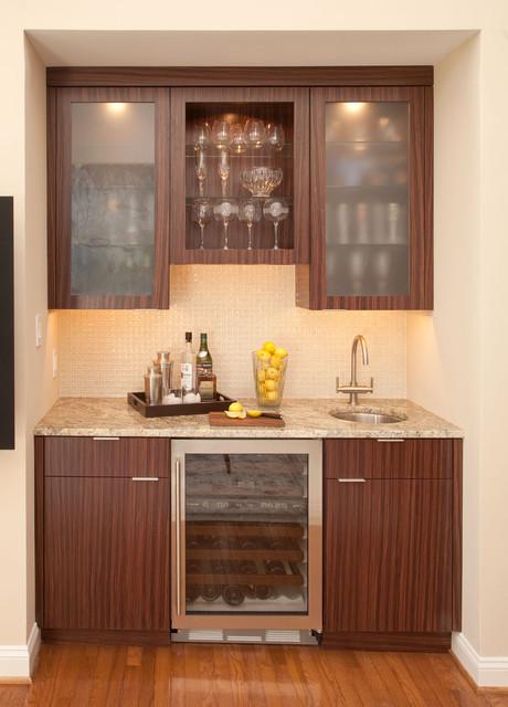 Wet Bar with Sub Zero Wine Storage Cooler - Wine Cellar ...