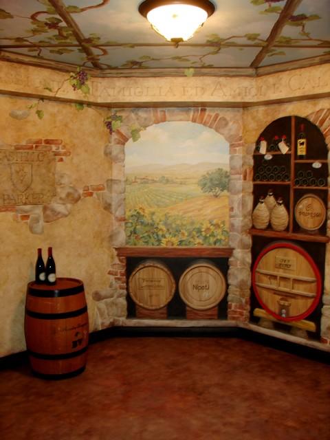 Wine Cellar Mural Traditional Wine Cellar Cleveland