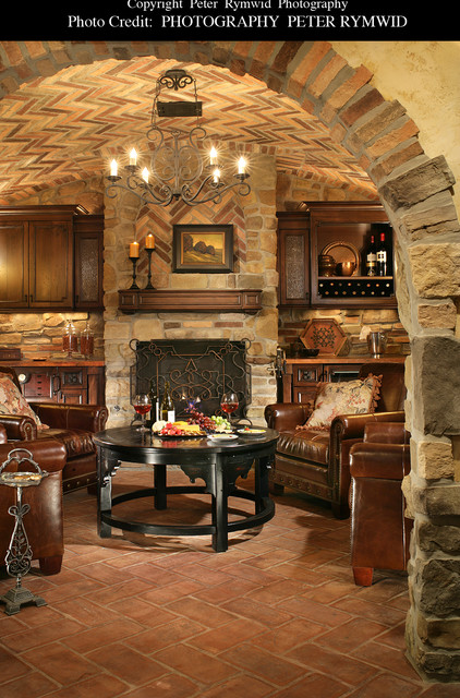 Wine Cellar Sitting Area Traditional Wine Cellar New