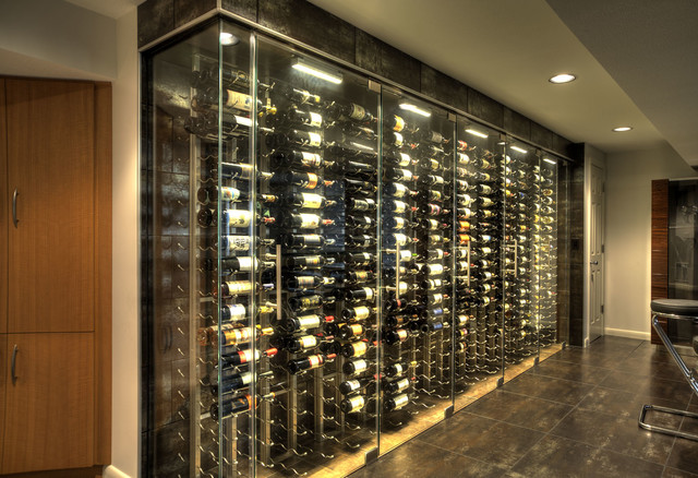 Wine cellar storage room glass bar countertop contemporary wine cellar wichita by - Small space wine racks design ...