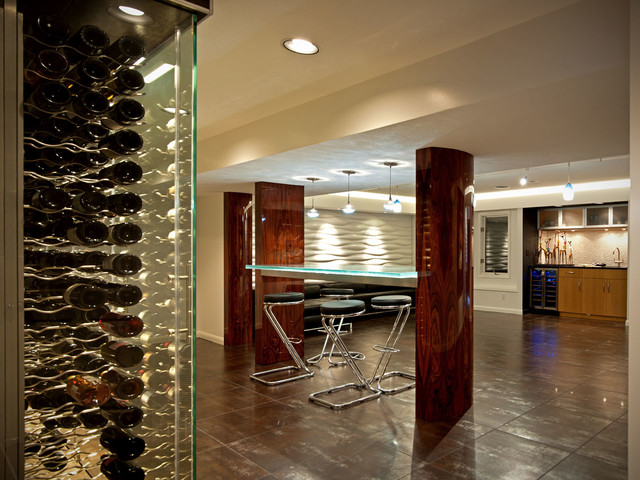 Wine cellar storage room glass bar countertop contemporary wine cellar wichita by Home bar furniture wichita ks